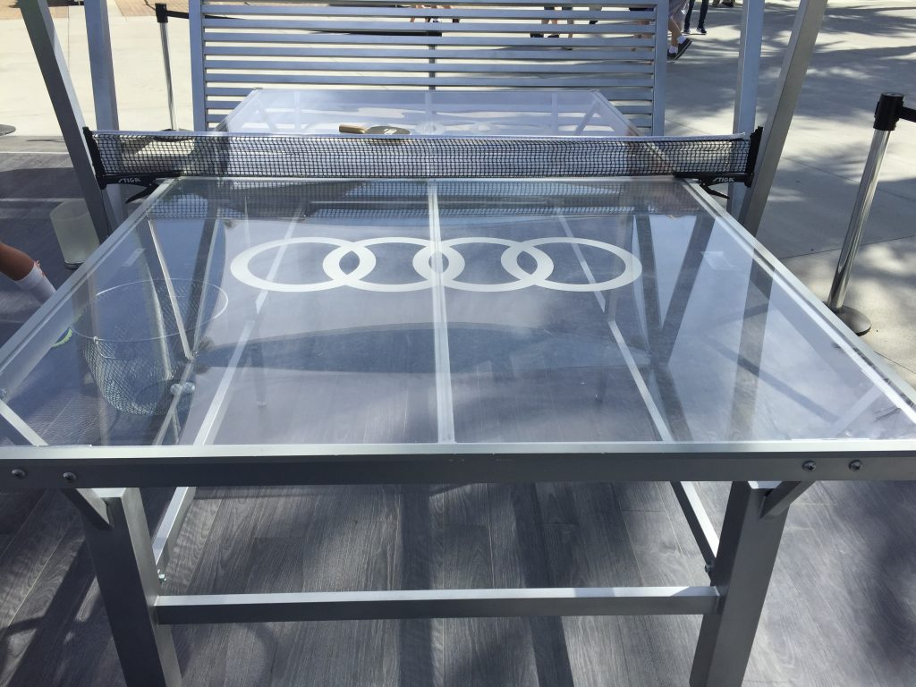 audi glass ping pong table